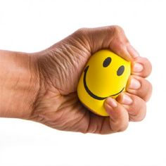 Smiley Face Stress Ball on Yellow Octopus #smiley #face #stress #ball