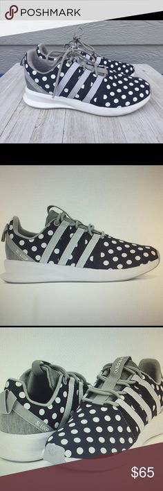 Adidas women's SL Loop Racer Legend! New condition - only worn 1x! Limited addition polka dots! So stylish! Color: Heather Gray, White & Navy (but almost looks black). Adidas Shoes Athletic Shoes