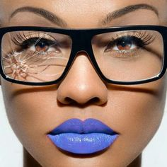 colorful lipsticks | DOPE Photoshoot of Model Up Close With Broken Glasses