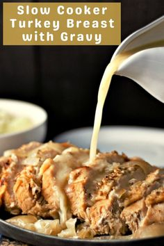 Easy Slow Cooker Turkey Breast with Gravy • Zona Cooks Turkey Recipes, Lunch Recipes, Crockpot Recipes, Cooking Recipes, Cooking For Two, Meals For Two, Whole Turkey, Slow Cooker Turkey, Turkey Breast