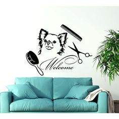 Dog Welcome Grooming Salon Pet Shop Animals Decor Sticker Decal size 22x22 Color