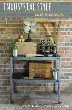 This DIY industrial metal cart makeover is home improvement perfection! When realized she had no industrial style decor or furniture in her home yet, she had to get creative. Metal Patio Furniture, Painted Furniture, Vintage Industrial Decor, Industrial Cart, Industrial Design Furniture, Refinishing Furniture, Diy Industrial Furniture, Painting Patio Furniture, Furniture Makeover