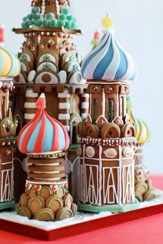 gingerbread house with Russian onion dome detailing.