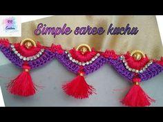 Saree Kuchu New Designs, Saree Tassels Designs, Simple Sarees, Finishing Materials, Beaded Jewelry, Middle, Drop Earrings, Beads, Crochet