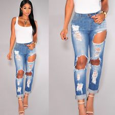 Women's Plain Stretch Destroyed Ripped Distressed Slim Skinny Jeans Pants