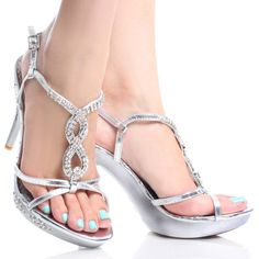 Silver Rhinestone Strappy Prom Dance Womens High Heel Platform Shoes