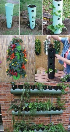 Use pvc pipes to build vertical planter clever gardening ideas on low budge Vertical Vegetable Gardens, Vertical Garden Diy, Vertical Planter, Easy Garden, Fence Garden, Pallets Garden, Vegetable Gardening, Diy Horta, Container Gardening