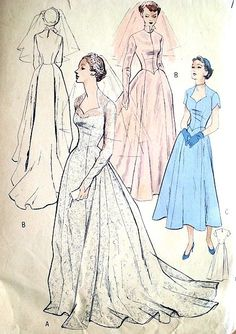 This is my personal favorite neckline.  Might make this dress for myself in navy floral print...  SoVintagePatterns.com  1950s  WEDDING GOWN BRIDAL DRESS PATTERN MOLDED BODICE, SWEETHEART NECKLINE, POINTED SLEEVES, LONG TRAIN VERSION, BUTTERICK 5269