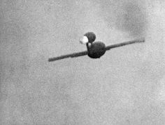 WWII --- German V-1 rocket in flight over England (photographed by pursuing Royal Air Force fighter aircraft) [1000x763]