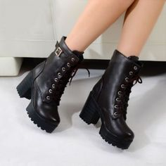 Goth Womens Punk platform Ankle Boots Chunky High Heel Lace Up Buckle Punk Shoes in Clothing, Shoes & Accessories, Women's Shoes, Boots | eBay