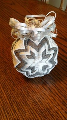 Silver white and pewter quilted Christmas ornament