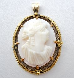 Antique 10K Gold Pink Conch Shell Cameo Pendant WRC ***ALSO SEE Vintage Jewelry at: http://MyClassicJewelry.com/shop