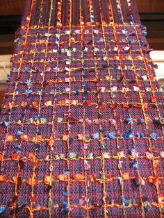 Handwoven scarf on loom - variegated tencel yarn and novelty yarn | Flickr - Photo Sharing!