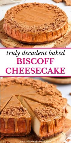 This incredibly decadent Baked Speculoos Biscoff Cheesecake is the perfect dessert to make for a special occasion this Fall and Winter! Made from a Lotus Biscoff Cookie Crust, a Biscoff / Cookie Butter Cheesecake Batter and topped with more Cookie Butter Biscoff Spread and crushed speculoos cookies, this epic baked Speculoos Cheesecake is a true crowd-pleasing dessert! Biscoff Cheesecake, Biscoff Cookie Butter, Speculoos Cookies, Mini Cheesecake Recipes, Cheesecake Bars, Desserts To Make, Sweet Desserts, Delicious Desserts, Dessert Recipes
