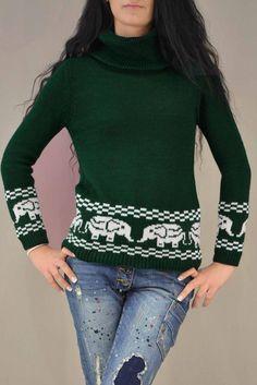 Γυναικείο πουλόβερ ζιβάγκο  PLEK-2727-grn  Πλεκτά > Πλεκτά και ζακέτες Christmas Sweaters, Turtle Neck, Fashion, Moda, Fashion Styles, Christmas Jumper Dress, Fashion Illustrations, Tacky Sweater