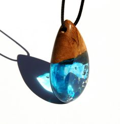 Wood Resin Pendant  Olive Wood  Blue with Silver by MASSIVART