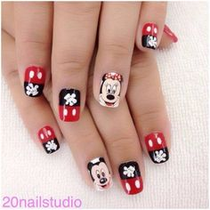 Minnie and Mickey Mouse nails! Disney Nail Designs, Fall Nail Art Designs, Creative Nail Designs, Creative Nails, Mickey Mouse Nail Art, Minnie Mouse Nails, Mickey Mouse Nails, Cute Nails, Pretty Nails