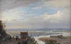Artwork by Andreas Schelfhout, A panoramic river landscape in summer, 1845 Made of oil on copper