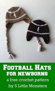 Crochet Football Pattern 5 Little Monsters Newborn Football Hats Crochet Football Pattern Crochet Football Earflap Hat Pattern Craftsmake For And With. Crochet Football Pattern Katie Cooks And Crafts Football Coaste. Crochet Bebe, Love Crochet, Crochet For Kids, Knit Crochet, Crochet Children, Beautiful Crochet, Crochet Newsboy Hat, Newborn Crochet, Crochet Baby Hats