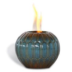 Amazon.com: Pacific Decor Geo Porcelain Flame Pot/Candle Holder, 7-Inch by 7-Inch by 6-Inch, Blue: Patio, Lawn & Garden