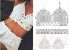 New Crochet Patrones Gratis Top Ideas - Diy Crafts Diy Crochet Top, Motif Bikini Crochet, Débardeurs Au Crochet, Bonnet Crochet, Diy Crafts Crochet, Mode Crochet, Crochet Halter Tops, Crochet Blouse, Patron Crochet