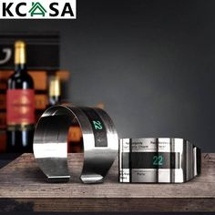 KCASA LCD Stainless Steel Wine Bracelet Thermometer Creative Wine Thermometer at Banggood