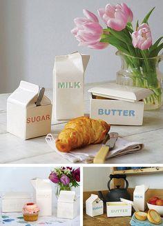 Contenedores para leche, azúcar y mantequilla