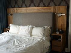 fabric + wood + built in nightstands & lighting!!!!