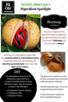 Nature supplies us with wonderful skin care ingredients. DIY a Nutmeg Mask to stimulate sluggish skin making it glow, fight acne and dark spots!
