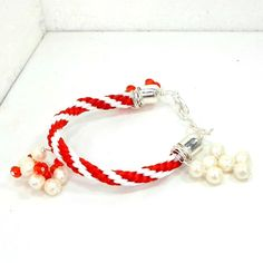 Handmade bracelet Kumihimo red white zigzag faux pearl red crystals 7 1/2 Pat2 #Pat2 #kumihimo