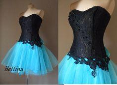 BETTINA turqouise/mint Prom dresscoctail dress by AtelierArtistia