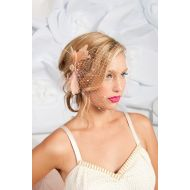 Wedding gifts that part of profit goes to our charity! Tessa Kim Birdcage Veil Blush Feather Adorned