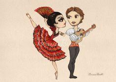 Natalia Osipova and Ivan Vasiliev in Don Quixote Ballet Drawing by Berenice Bercelli www.balletpapier.com/ballet-news