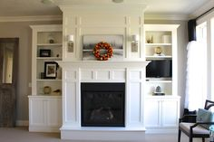 Built ins around fireplace.