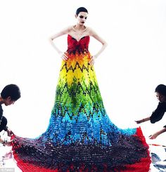 Gummy bear evening gown... inspired by rainbow Alexander McQueen creation. 50k gummy bears, 220lbs