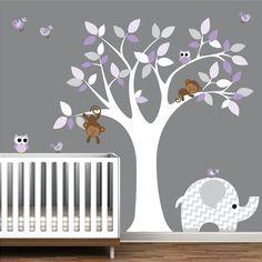 Wall Art Decor Jungle Decal Elephant Owl Monkey by Modernwalls