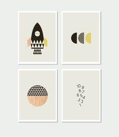 15 Modern Nursery Art Prints To Dress Up Your Child's Walls | Rocket kids Wall Art Prints by Little Design Haus.
