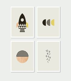 15 Modern Nursery Art Prints To Dress Up Your Child's Walls | Rocket kids Wall Art Prints by Little Design Haus.