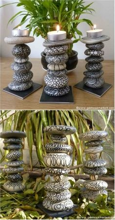 DIY Stone Candle Holders