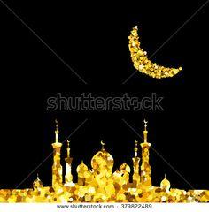 Glitter gold Silhouette of mosque with minarets and moon Crescent. Concept for Islamic Muslim holidays Mawlid birthday prophet Muhammad, holy month Ramadan Kareem, Eid Mubarak, Fatima bint Muhammad