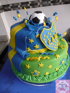 Torta Boca Juniors. Soccer Cake, Baby Birthday Cakes, Cake Designs, Fondant, Sweet, Desserts, Ideas, Cake, Teen Birthday Cakes