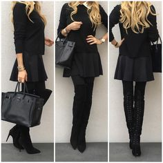 Yesterday -  #Valentino top, #Zara skirt, #HM tights, #MiuMiu boots and #HermèsSoBlackBirkin35.