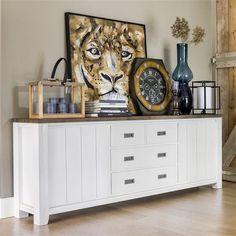 HetH collection velasco - En bois d'acasia blanc et pampas grey - Dressoir 220cm