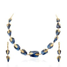 Tiny Gold Leaves Covered Blue Tourmalines Necklace set
