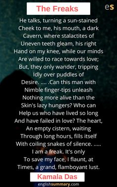 The Freaks Poem by Kamala Das History Of English Literature, Morning Poem, Simile, Long Hours, Seven Deadly Sins, This Man, Beautiful Words, Languages, Lust