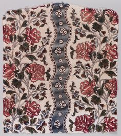 """Oberkampf Textile * 1760–62  linen warp, cotton weft - block-printed on plain weave """"siamoise Undulating vertical stripes of blue with small white flowers, alternating with wider columns of large pink roses on a white ground"""
