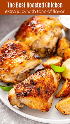 If youre looking for a super juicy chicken recipe youve found it - this is the Best Baked Chicken Recipe! Bone-in and skin-on breasts or thighs are marinated and baked in a perfectly seasoned citrusy and garlicky glaze. Baked Bone In Chicken, Best Baked Chicken Recipe, Best Chicken Dishes, Best Roasted Chicken, Bone In Chicken Recipes, Baked Chicken Breast, Chicken Breasts, Healthy Chicken, Easy Chicken Thigh Recipes Baked