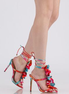 9e5e6a4872b9 Ruffle Party Lace-Up Watercolor Heels  36.50
