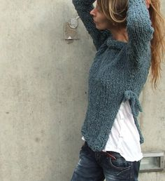 Sweater / Petroleum Teal, side slit Sweater Ltd edition in this shade. $95.00, via Etsy.