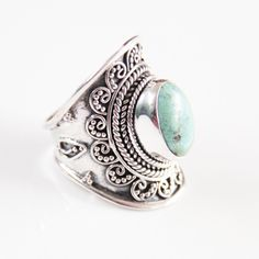 Turquoise Ring, Personalized Jewelry, Turquoise Jewelry, Sterling... (1.412.185 IDR) ❤ liked on Polyvore featuring jewelry, rings, blue turquoise ring, sterling silver rings, bohemian jewelry, bohemian rings and turquoise jewelry